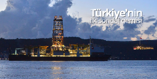 Türkiye'nin ilk sondaj gemisi Çanakkale'den geçti