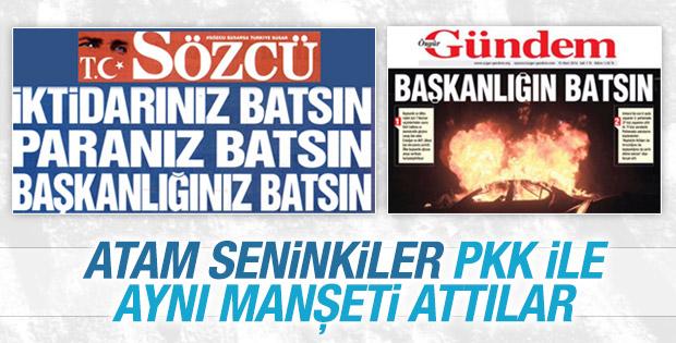 Sözcü, PKK'nın gazetesiyle aynı manşeti attı