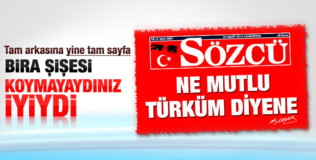 Sözcü Gazetesi'nden tam sayfa Türk bayrağı