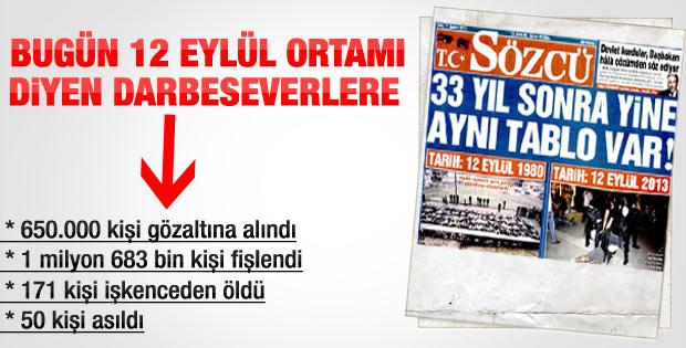 Sözcü'nün 12 Eylül karşılaştırması manşeti