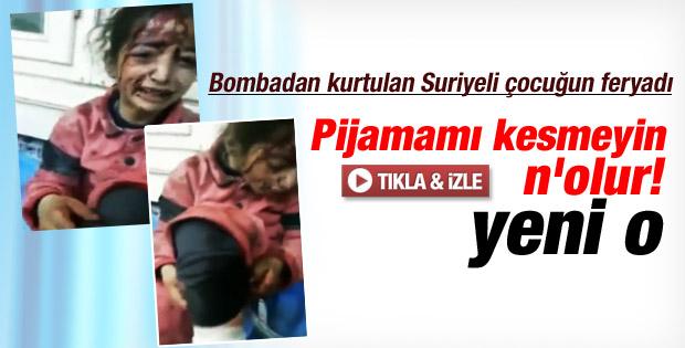 Suriye'de bombalama sonucu yaralanan kızın isyanı