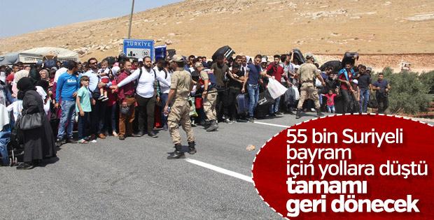 55 bin Suriyeli bayram için ülkesine gidiyor