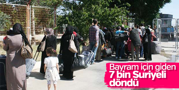 7 bin Suriyeli Türkiye'ye döndü