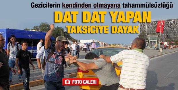 Gezicilerden tepki gösteren taksi şoförüne dayak - izle