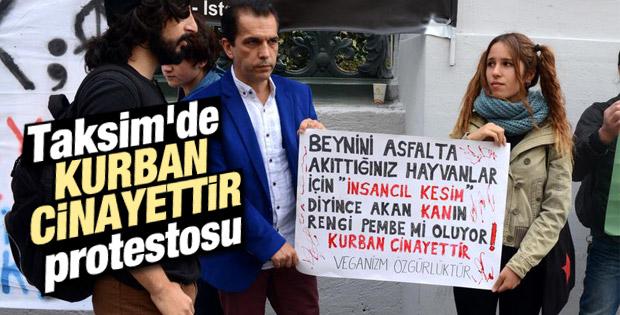 Taksim'de kurban protestosu