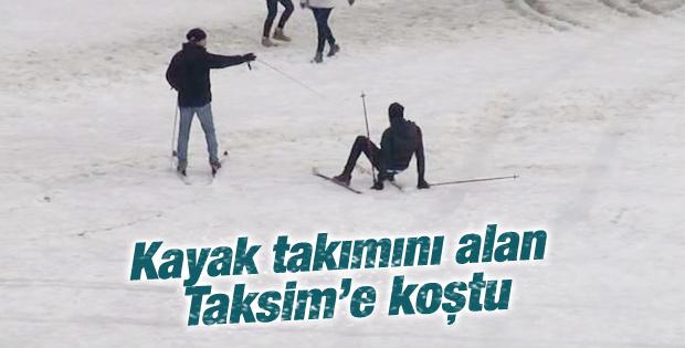 İstanbullular Taksim meydanında kayak yaptı