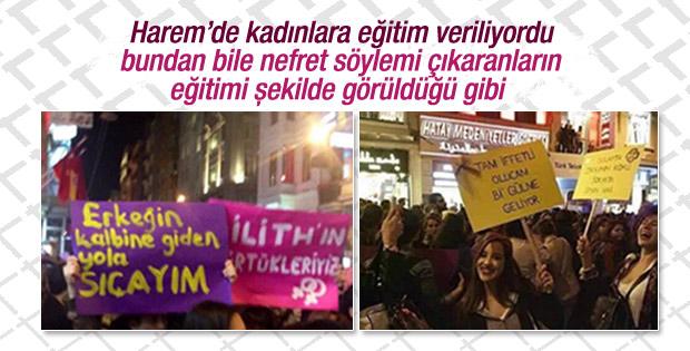 Kadınlar Günü yürüyüşünde çirkin pankartlar