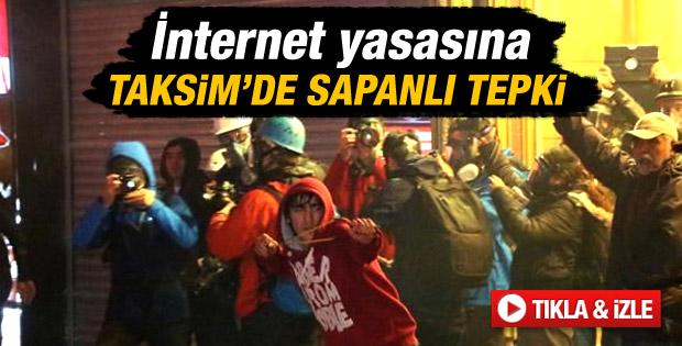 Taksim'de internet yasası protestoları - Video