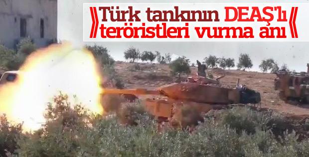 Türk tankının DEAŞ'lı teröristleri vurma anı