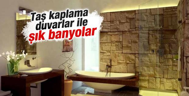 Taş kaplama duvarlar ile şık banyolar