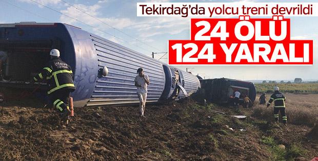 Tekirdağ Çorlu'da yolcu treni devrildi