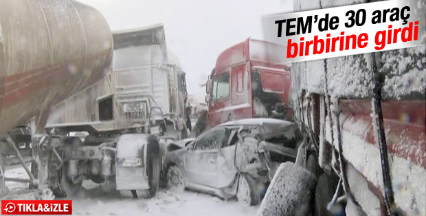 TEM otoyolunun Edirne istikametinde zincirleme kaza