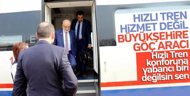 Karamollaoğlu, 1 yıl önce eleştirdiği YHT'ye binmişti