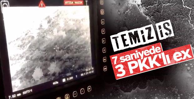 3 PKK'lı teröristin öldürülme anı