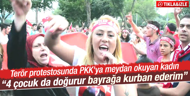 İstanbul'daki yürüyüşte genç kadından PKK'ya tepki