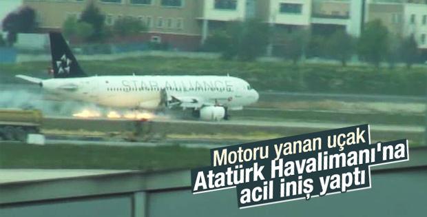 Havada alev alan THY uçağı acil iniş yaptı