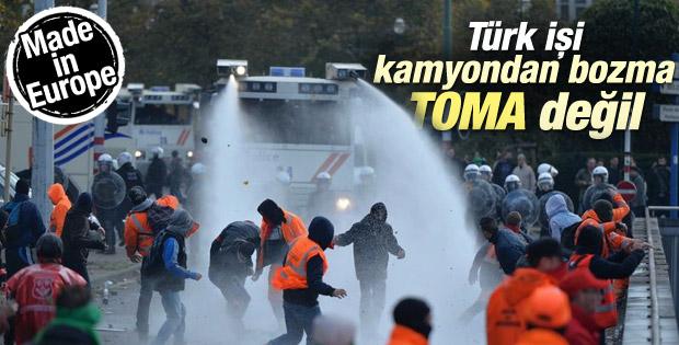 Brüksel'de eylemcilere dev TOMA'larla müdahale