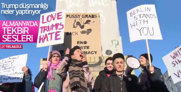 Almanya'da anti Trump protestosunda tekbir sesleri