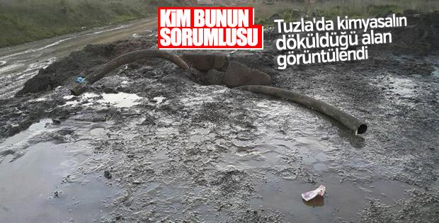 Tuzla'da kimyasalın döküldüğü alan görüntülendi