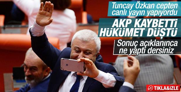 Tuncay Özkan'ın hükümet düştü canlı yayını kısa sürdü