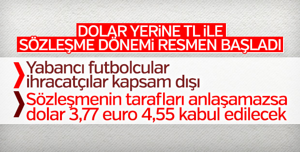 Sözleşmelerde Türk lirası dönemi