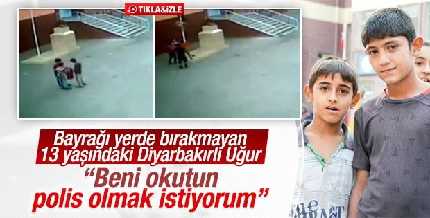 Türk bayrağını göndere çeken çocuk konuştu