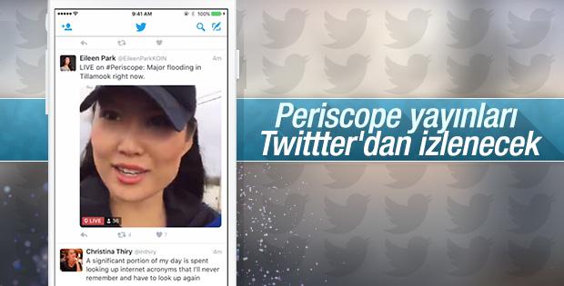 Periscope yayınları Twitter'da