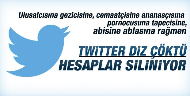 Twitter hesapları kapatmaya başladı