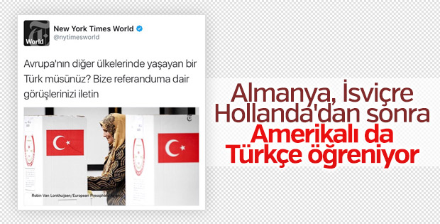 New York Times gazetesi Türkçe tweet attı