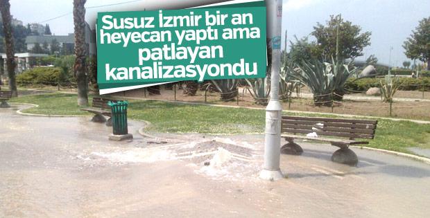 İzmir Konak'ta kanalizasyon borusu patladı