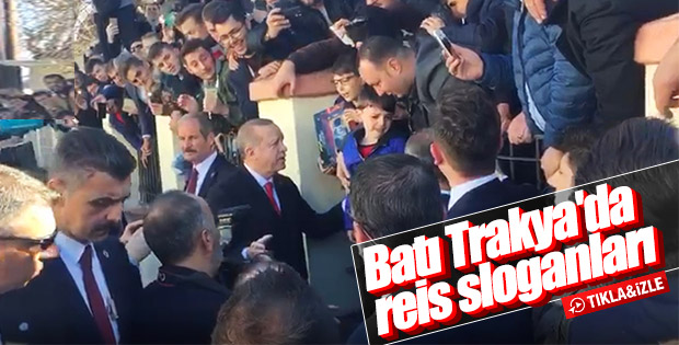 Erdoğan Batı Trakya'da 'Reis' sloganlarıyla karşılandı
