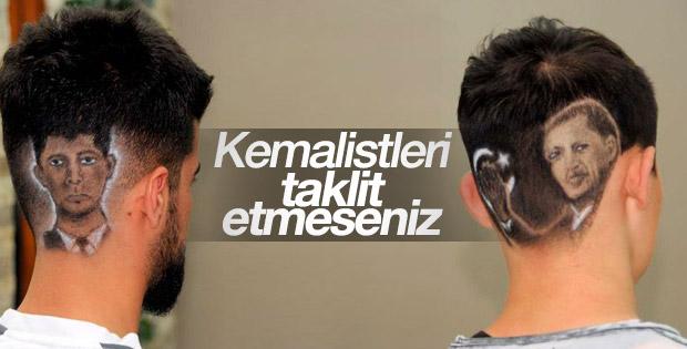 Erdoğan ve Ömer Halisdemir'in fotoğrafı saç modeli oldu