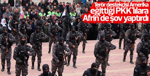 Amerika'nın tetikçileri Afrin'de gösteri yaptı