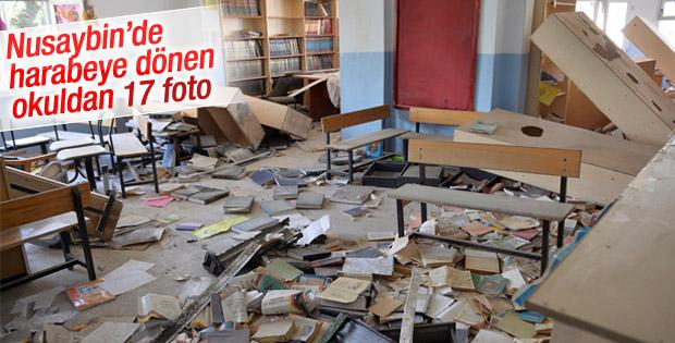 Teröristlerin zarar verdiği okuldaki manzara yürek burktu