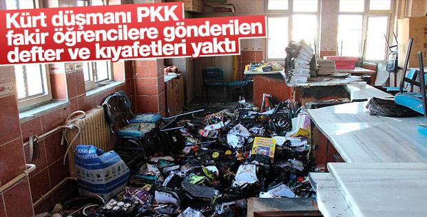 PKK'nın yaktığı okulda öğrencilerin kıyafetleri de yandı