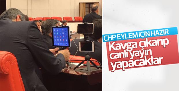 CHP'li vekiller Meclis'ten canlı yayın için hazırlık yaptı