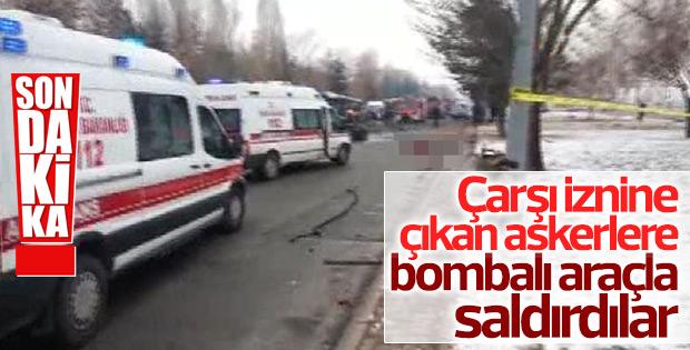 Kayseri'de askerleri taşıyan otobüse saldırı