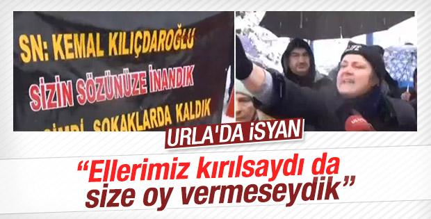 Evleri yıkılan Urlalılar Kılıçdaroğlu'nu protesto etti