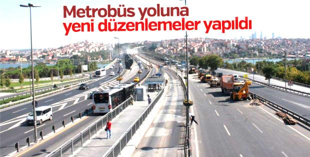 Metrobüs yoluna yeni düzenlemeler yapıldı