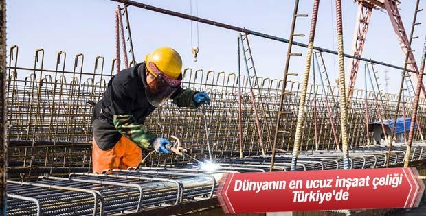 Dünyanın en ucuz inşaat çeliği Türkiye'de