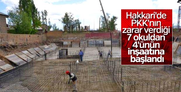 Hakkari'de PKK'nın tahrip ettiği okullar yeniden yapılıyor
