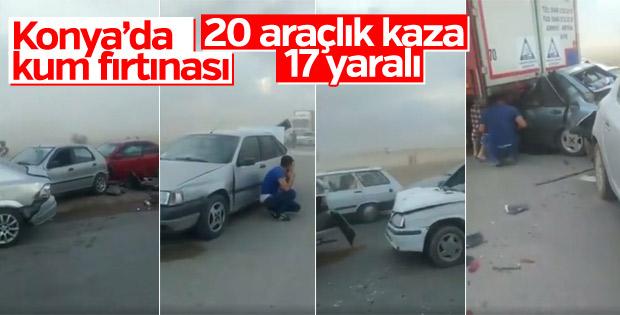 Konya'da kum fırtınası: 17 yaralı