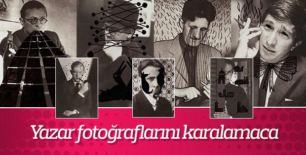 Yazar fotoğrafları üzerine karalama çalışması