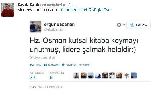 Ergun Babahan'ın Hazreti Osman tweeti'ine tepki