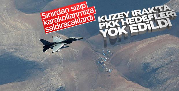 Irak'ın kuzeyinde 16 PKK hedefine bombardıman