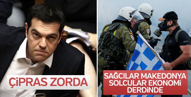 Yunanistan'da 'Makedonya Yunan'dır' protestoları