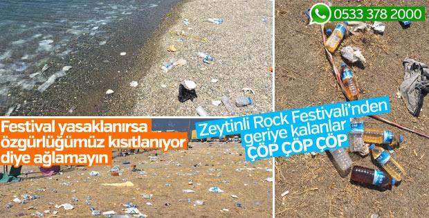 Zeytinli Rock Festivali'nin ardından kalan çöpler
