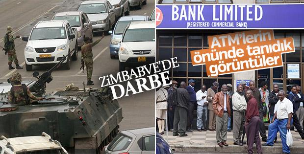 Zimbabve'de askerleri görenler ATM'lere koştu