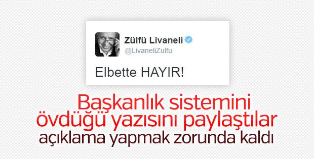 Livaneli'den başkanlığı öven yazısı hakkında açıklama
