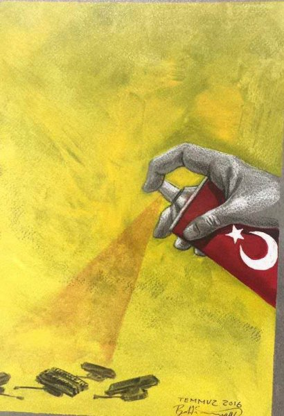 Iranli Sanatcidan Muhtesem 15 Temmuz Cizimleri